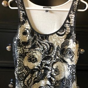 Express lace/sequin holiday party tank - size M